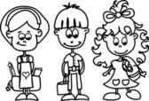 Cute schoolboys and schoolgirls — Stock Vector