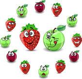 Känslor tecknade jordgubbar och äpplen — Stockvektor