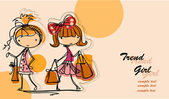 Winkelen mode meisjes — Stockvector
