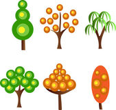 Set abstracts vector trees — Stock Vector