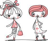 Trendy girls are shopping — Stock Vector
