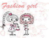Trendy girls — Vector de stock