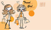 Set of characters fashionable girls — Vector de stock
