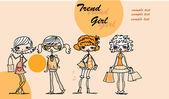 Set of characters fashionable girls — Cтоковый вектор
