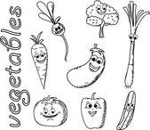 Set funny cartoon vegetables — Stock Vector