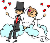Love the bride and groom are flying in the clouds — Stock Vector