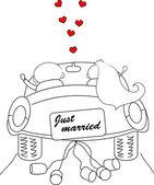 恋に新郎新婦の結婚式の写真 — ストックベクタ