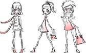 Dibujos animados de moda chicas — Vector de stock