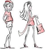卡通时尚女孩 — 图库矢量图片