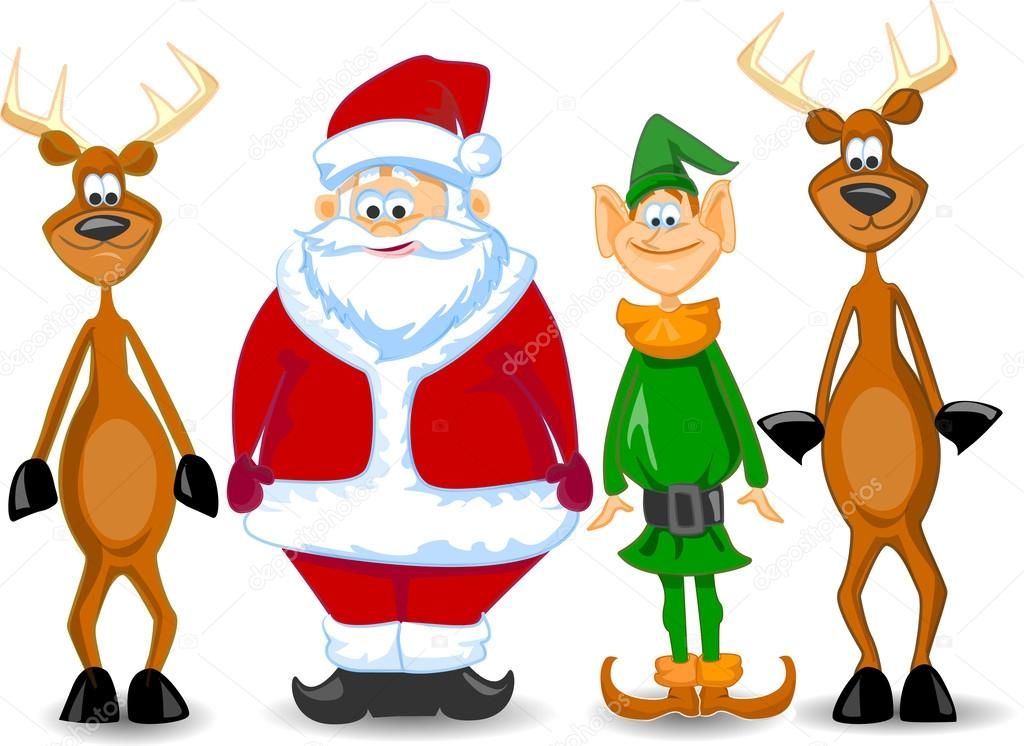 Dibujos Animados De Santa Claus, Duende, Reno