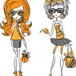 Cartoon fashionable girls — Stockvektor #37511177