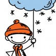 Boy holds a sign the weather — Stock Vector #37512343