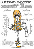 Cartoon fashionable girl — Stock Vector