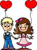 Children hold the balloons in heart shape — Stock Vector
