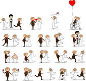 Set of wedding pictures, bride and groom in love — Stock Vector