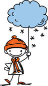 Boy holds a sign the weather — Stock Vector