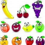 Cartoon orange, banana, apples, strawberry, pear, cherry, peach, plum, lemon, grapes — Stock Vector #38148677