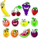 Cartoon orange, banana, apples, strawberry, pear, cherry, peach, plum, lemon, grapes, watermelon, raspberry ,pineapple — Stock Vector #38148735