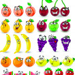 Cartoon orange, banana, apples, strawberry, pear, cherry, peach, plum, lemon, grapes, watermelon — Stock Vector #38148737