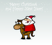 Santa Claus with horse — Stock Vector