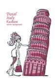 Fashion Cartoon Girl travels the world — Vetorial Stock