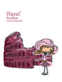 Fashion Cartoon Girl travels the world — Stock Vector