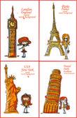 Mode cartoon meisje reist de wereld rond — Stockvector