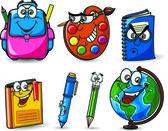 Cartoon school bags, pencils, books, notebooks, pen, globe — Stock Vector