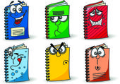 Cartoon school notebooks — Stock Vector