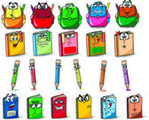 Cartoon school bags, pencils, books, notebooks — Stockvektor