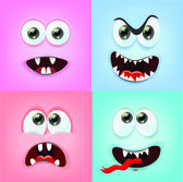 Cartoon faces with emotions — Stock Vector