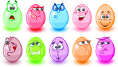 Cartoon easter eggs, happy easter — Stock Vector