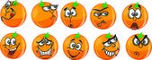 Cartoon oranges with emotions — Stock Vector