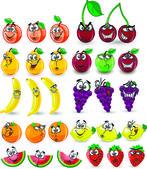 Cartoon orange, banana, apples, strawberry, pear, cherry, peach, plum, lemon, grapes, watermelon — Stock Vector