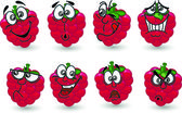 Cartoon raspberry with a variety of emotions, the vector — Stock Vector