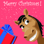 Funny horse with present, christmas background — Stock Vector