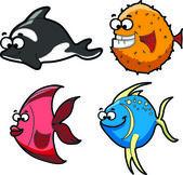 Big set of cartoon fishes — Stock Vector