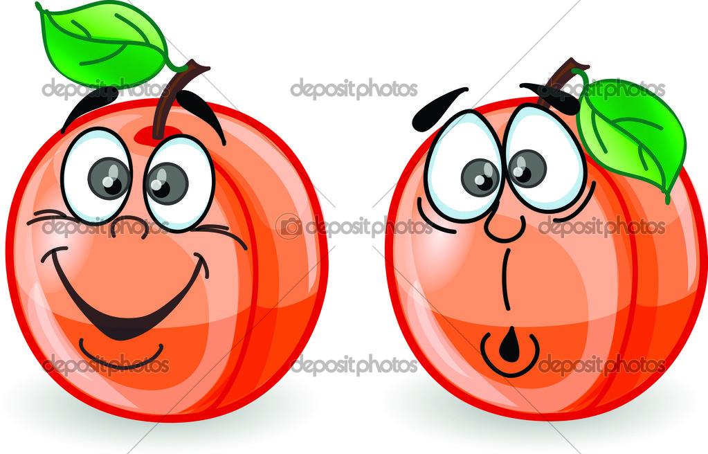 Cartoon perziken met emoties — stockvector virinaflora