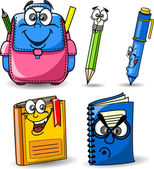 School bag, pencils, books, notebooks, pen — Stock Vector
