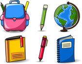 Schooltassen, potloden, boeken, notebooks, pen, globe — Stockvector