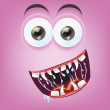 Cartoon happy monster face — Stock Vector