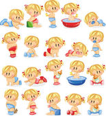 Baby boys and baby girls — Stock Vector