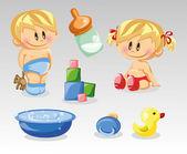 Baby boy, baby girl and nursery accessories — Stock Vector
