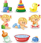 Cartoon baby and children's accessories — Stock Vector