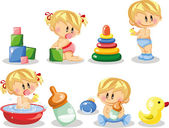 Cartoon baby and children's accessories — Stock Vector