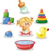 Bebek ve çocuk aksesuarları cartoon — Stok Vektör