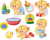 Baby boys, baby girls and nursery accessories — Stock Vector