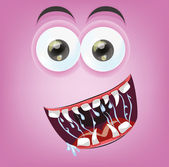 Cartoon happy monster face — Stock Vector