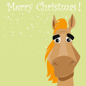 Funny horse with present — Vetorial Stock