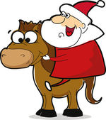 Funny Santa Claus with horse — Vetorial Stock